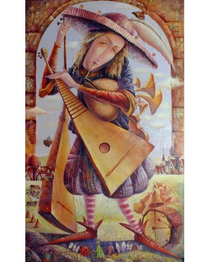 """UOMO ORCHESTRA"" (Человек-оркестр) Виктория Бубнова (холст, масло, 60х100см, 2008)"