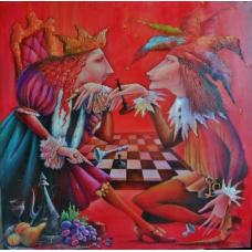 """SFIDA"" (Duel) Viktoriya Bubnova (oil on canvas, 90x90cm, 2008)"