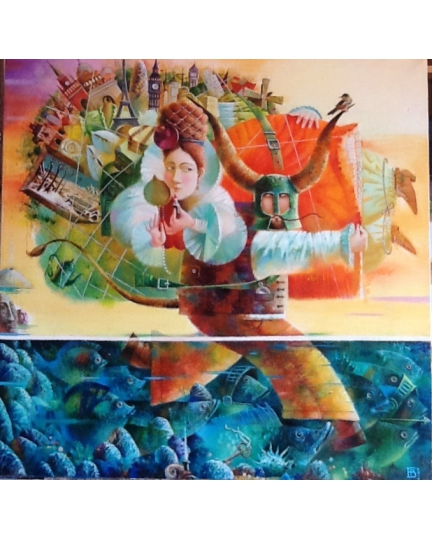 """RATTO DI EUROPA"" (Rate of the Europe) Viktoriya Bubnova (oil on canvas, 70x70cm, 2016)"