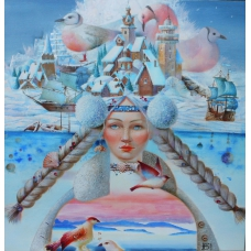 """MELODIA MAR BIANCO"" (Melody of the White Sea) Viktoriya Bubnova (oil on canvas, 60x60cm, 2016)"
