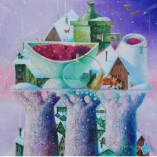 """PROFUMO D'INVERNO"" (Fragrance of winter) Viktoriya Bubnova (oil on canvas, 40x40cm, 2017)"