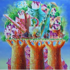 """PROFUMO D'ESTATE"" (Fragrance of summer) Viktoriya Bubnova (oil on canvas, 40x40cm, 2017)"
