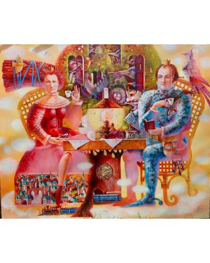 """""""CAFFE IN DUE"""" (Coffee for two) Viktoriya Bubnova (oil on canvas, 120x100cm, 2014)"""
