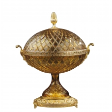 """CRYSTAL ROUND BOWL WITH LID """"CARMEN"""""""
