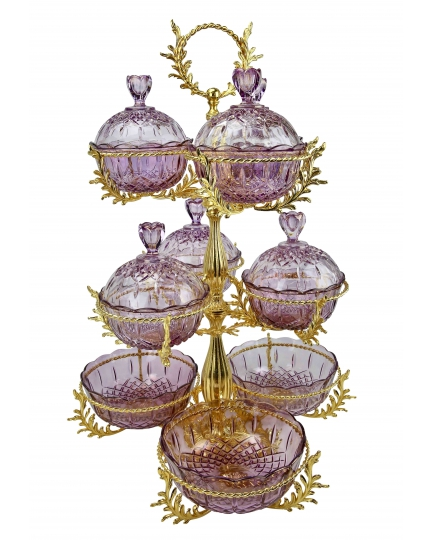 3-TIER STAND for sweets and nuts Grand Opera with crystal vases H75 cm