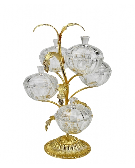 3-TIER STAND for sweets and nuts Tree branch with crystal vases H42 cm