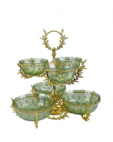 2-TIER STAND for sweets/nuts Opera with crystal vases H50 cm