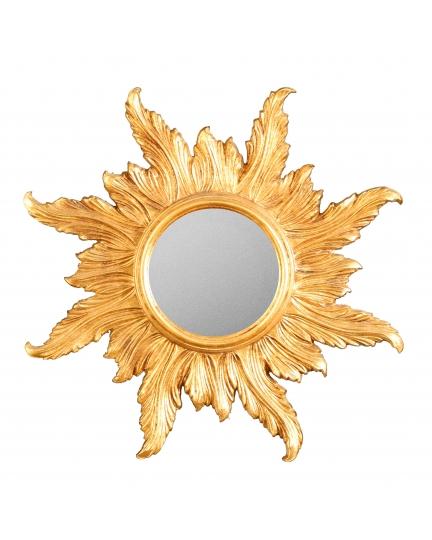 "ROUND MIRROR ""THE SUN"", D20 cm, carved frame"