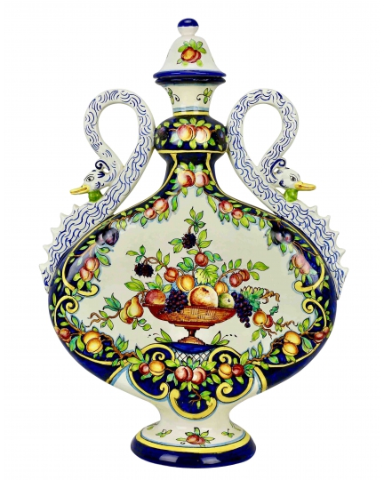 DECORATIVE FLASK with handles as a swan 0006 H61 cm