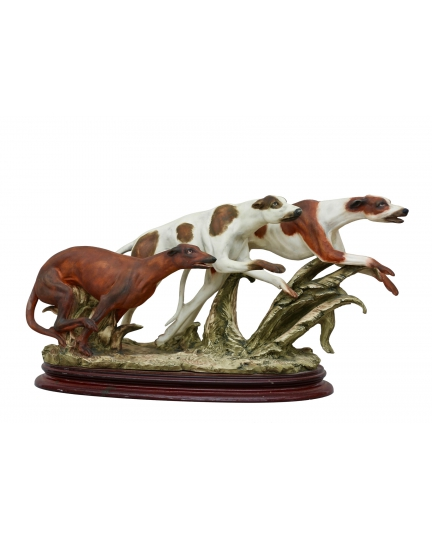"""""""RACING GREYHOUNDS"""" marble statuette"""