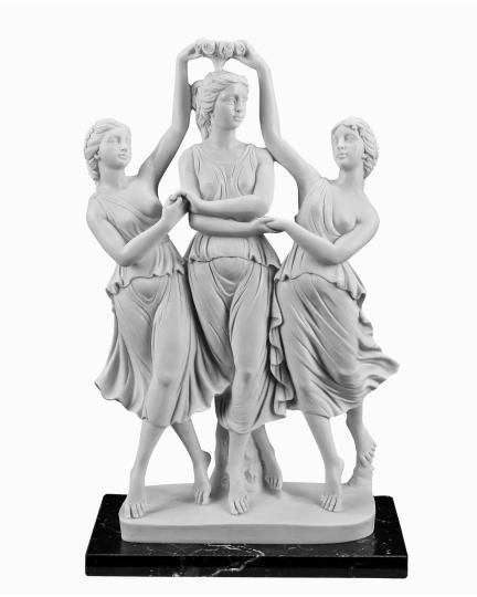 THE THREE GRACES DANCING marble statuette (A.Santini)-1
