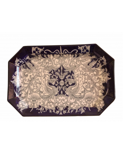 RECTANGULAR TRAY with grey grotesques 53x36 cm