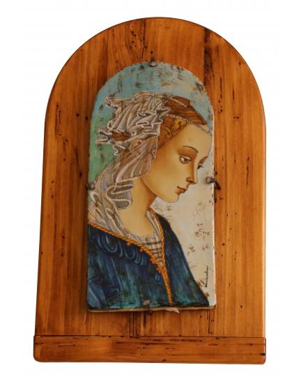 DECORATIVE TILE on board with Madonna Filippino Lippi 16x31 cm