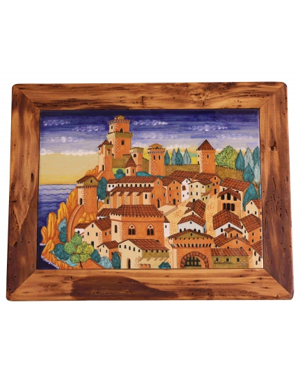 "DECORATIVE FRAMED TILE from a series ""Renaissance landscape"" 45x33 cm"