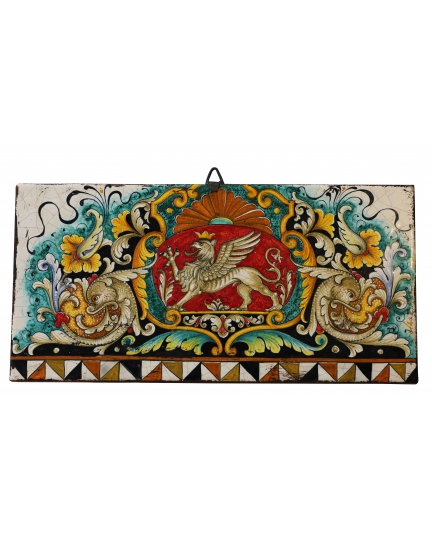 """DECORATIVE TILE """"GRIFFIN ON A RED BACKGROUND""""  50x25 cm"""