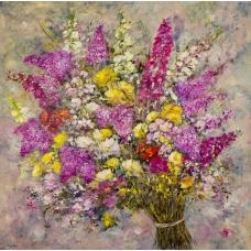 """""""La voce degli steli"""" (The voice of stalks) Luciano Pasquini (oil on canvas, 100 х 100 см, 2016)"""