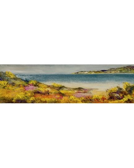 """""""Il colloquio sabbia e mare"""" (The shore and sea talk) Luciano Pasquini (oil on canvas, 100 х 30 см, 2016)"""