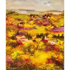 """""""Conche e selle"""" (Highlands and lowlands) Luciano Pasquini (oil on canvas, 50 х 60 см, 2016)"""