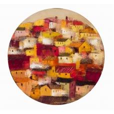 """""""Muri innamori"""" (The charming walls) Luciano Pasquini (oil on board, D50 см, 2017)"""