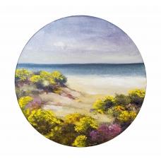 """""""Giallo e azzurro"""" (Yellow and blue) Luciano Pasquini oil on canvas, D100 см, 2017)"""