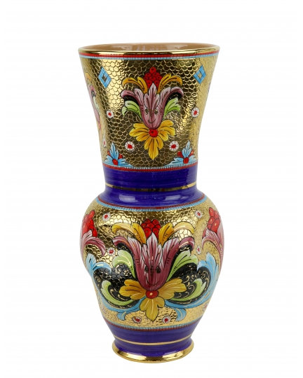 "VASE ""Gold&Blue"" in the style of Byzantine mosaics H50"