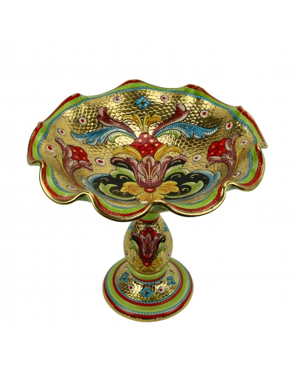 "FOOTED FRUIT BOWL in the style of Byzantine mosaics D31cm from the ""Gold&Green"" series"