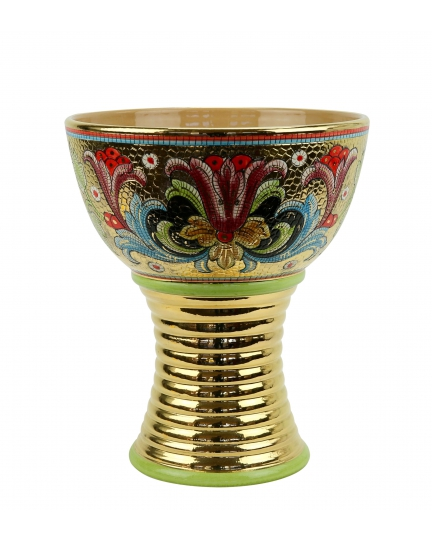 "BOWL with gilded foot in the style of Byzantine mosaics H29cm from the ""Gold&Green"" series"