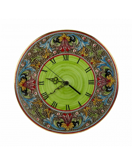 "WALL CLOCK in the style of Byzantine mosaics D35cm from the ""Gold&Green"" series"