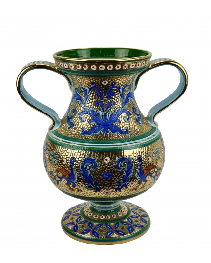 "FOOTED VASE with two handles in the style of Byzantine mosaics H40cm from the ""Gold&Azure"" series"