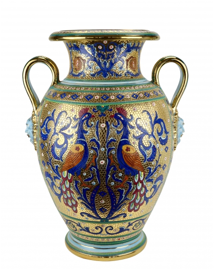 "LARGE URN №1 with two handles in the style of Byzantine mosaics H73cm from the ""Gold&Azure"" series"