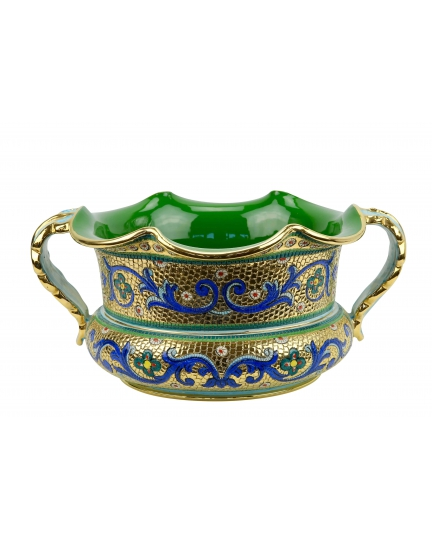 """BOWL with two handles in the style of Byzantine mosaics D34cm from the """"Gold&Azure"""" series"""