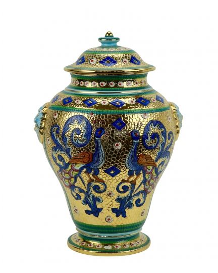 "POTICHE with lid in the style of Byzantine mosaics H36cm from the ""Gold&Azure"" series"