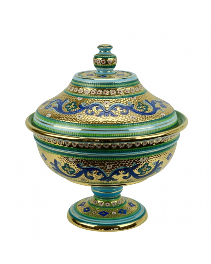 "FOOTED BOWL with lid in the style of Byzantine mosaics H40cm from the ""Gold&Azure"" series"