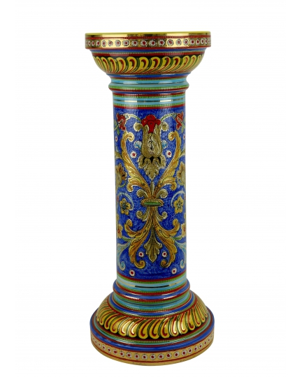 "MEDIUM COLUMN in the style of Byzantine mosaics H71cm from the ""Gold&Skyblue"" series"
