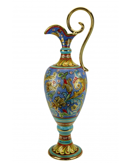"AMPHORA in the style of Byzantine mosaics H87cm from the ""Gold&Skyblue"" series"