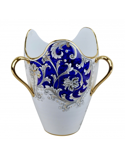 "VASE with three golden-plated handles H31cm from the ""Blue on White"" series"