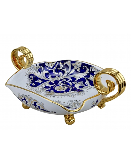 """BOWL with two gold handles  29х43 cm from the """"Blue on White"""" series"""