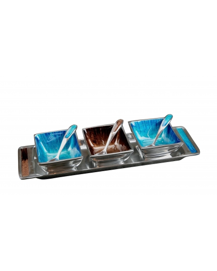 ECO-ALUMINUM SAUCES SET  (Salsa series, turquoise/brown enamel)