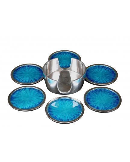 GLASS SUPPORT SET  (ecoaluminum, turquoise enamel)